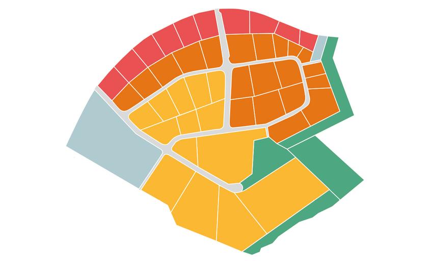 Der neue Teil des Gewerbeparks: Rote Parzellen befinden sich derzeit in der Vermarktung und können erworben werden, gelbe und orangefarbene Parzellen stehen in den Folgejahren zur Verfügung. Blaue Parzellen wurden bereits veräußert.