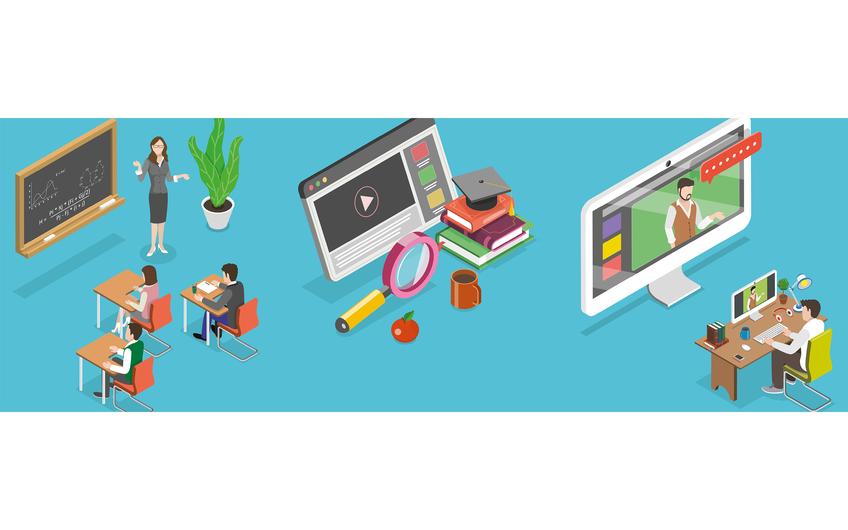 Blended Learning oder auch hybrides Lernen vereint die Vorteile beider Welten: Es ist eine produktive Mischung aus Live-Unterricht im Klassenraum, ggf. klassischer Bibliotheksrecherche sowie Online-Lernen und Online-Unterricht, etwa mittels Zoom. (©  TarikVision – stock.adobe.com)