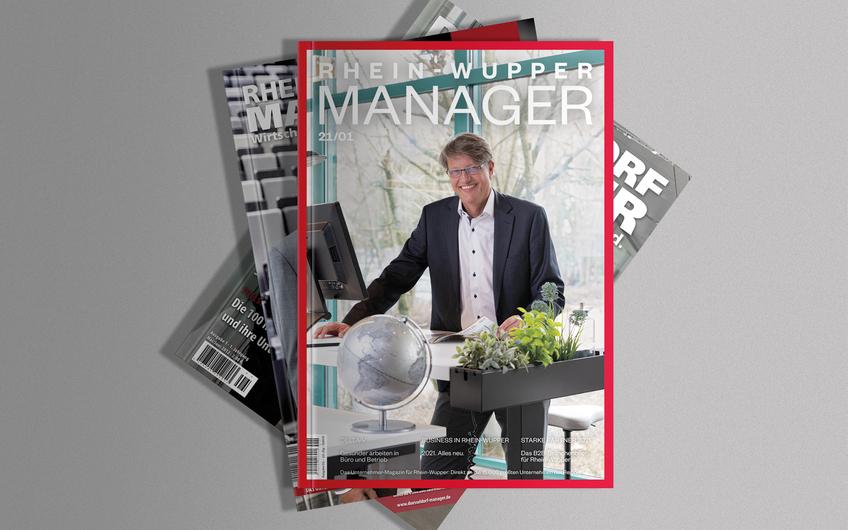 Das Cover des RHEIN-WUPPER MANAGER im neuen Marcellini-Design (Mockup Vorlage © vectorium – freepik.com)