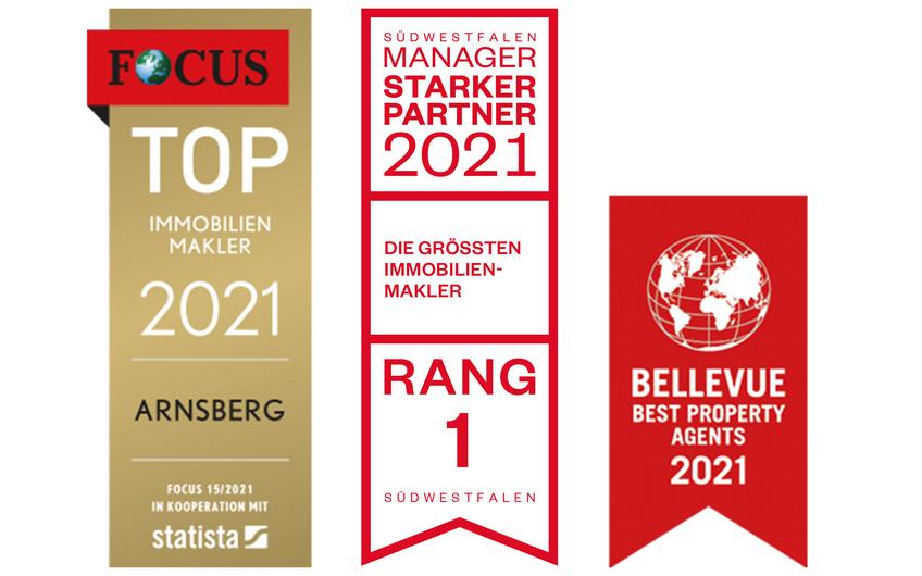 * Focus Spezial Immobilien, Ausg. 15/21 Südwestfalen Manager, Starke Partner, Ausg. 01/21 Bellevue Best Property Agents 2021, Ausg. 02/21