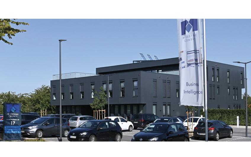Das im Januar 2020 bezogene Firmengebäude der Milestone Consult im Gewerbepark Dieprahm, Kamp-Lintfort