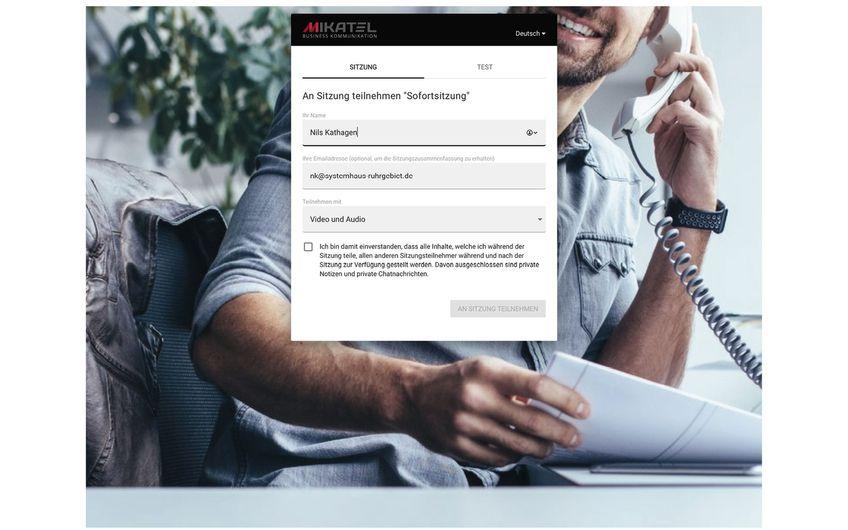 Videokonferenzen leicht gemacht: Bei den Web-Konferenzen von Mikatel müssen die bis zu 50 Teilnehmer in ihrem gewohnten Internet-Browser lediglich Name und E-Mail angeben. Die Installation einer gesonderten Software ist nicht notwendig.