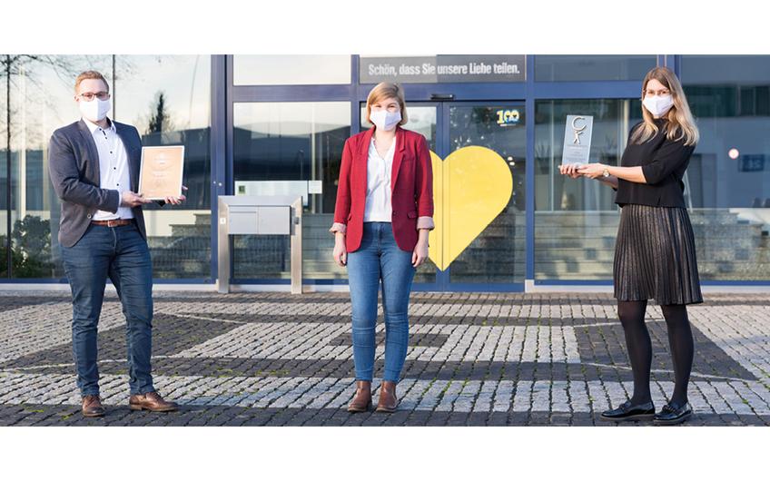 Foto v. links: Team EDEKA-Gesundheitsmanagement mit Mario Grotefeld, Sophia Leffringhausen und  Fenja-Carina Leib. (© Foto: EDEKA Minden-Hannover)