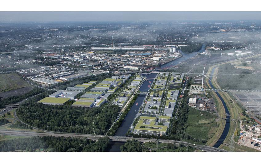 Freiheit Emscher: Visualisierung der Planung neuer Gewerbe- und Büroansiedlungen auf den ehemaligen rund 35 Hektar großen Kohlelagerflächen der RAG entlang des Rhein-Herne-Kanals in Essen (©ArGe Freiheit Emscher)
