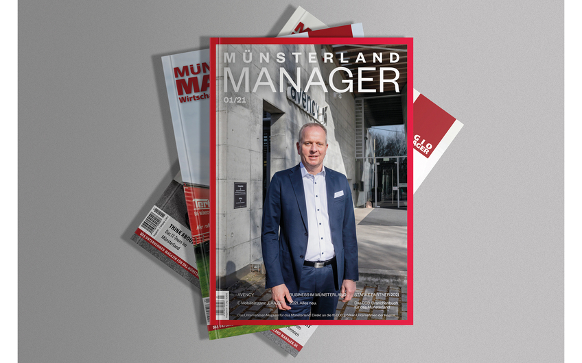 Das Cover des MÜNSTERLAND MANAGER im neuen Marcellini-Design (© vectorium – freepik.com)