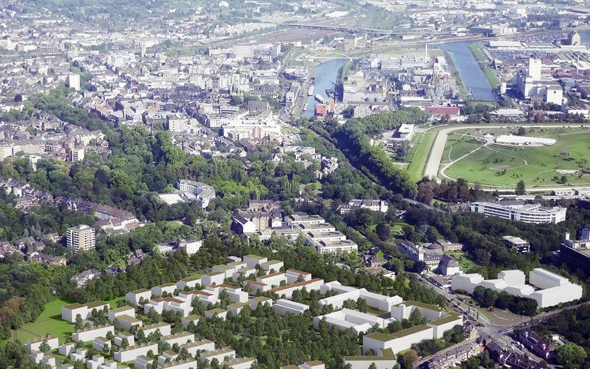 Auf dem Gelände des ehemaligen St. Alexius Krankenhauses lassen die Neusser einen neuen Stadtteil mit rund 500 Wohnungen heranwachsen – innenstadtnah, mitten im Grünen