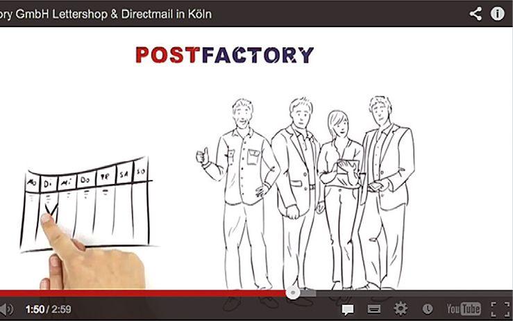 Den besten Einblick in die Leistungen und die Unternehmenskultur von POSTFACTORY bietet Herr Müller in dem dreiminütigen originellen Video auf der Website.