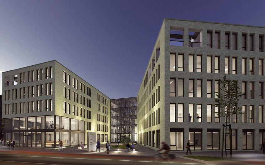 """In Toplage am Hauptbahnhof entsteht  das """"Duisburg Central Office"""" Foto: Aurelis Real Estate / Entwurfsverfasser K:F"""