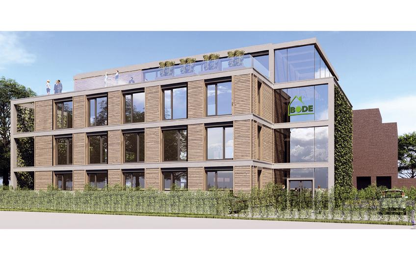 Animation des neuen Bode-Bürogebäudes in derMeyerbeerstraße in Münster. Es wird nach KfW-40plus-Standard gebaut und ist nahezu CO2-neutral