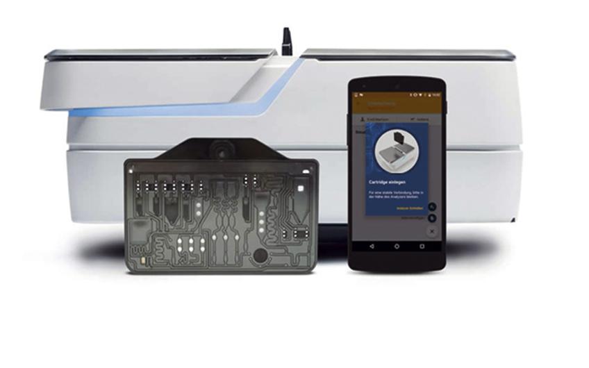 Mobinostics Analyzer™ mit Cartridge und mobilem Endgerät, Boehringer Ingelheim Vetmedica GmbH