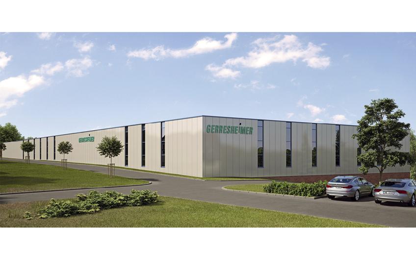Lager- und Produktionshalle von Gerresheimer,  Spezialhersteller für medizinische Produkte in Bünde