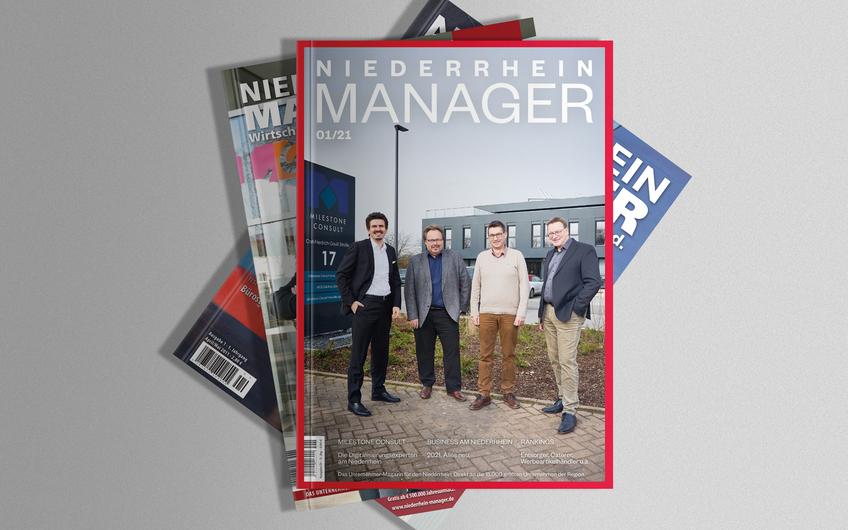 Das Cover des NIEDERRHEIN MANAGER im neuen Marcellini-Design (Mockup Vorlage © vectorium – freepik.com)