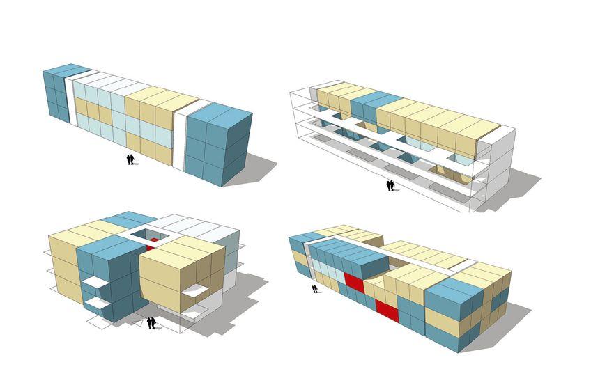 Erschließungsvarianten des modularen Wohnungsbaukastens (Quelle: KZA)