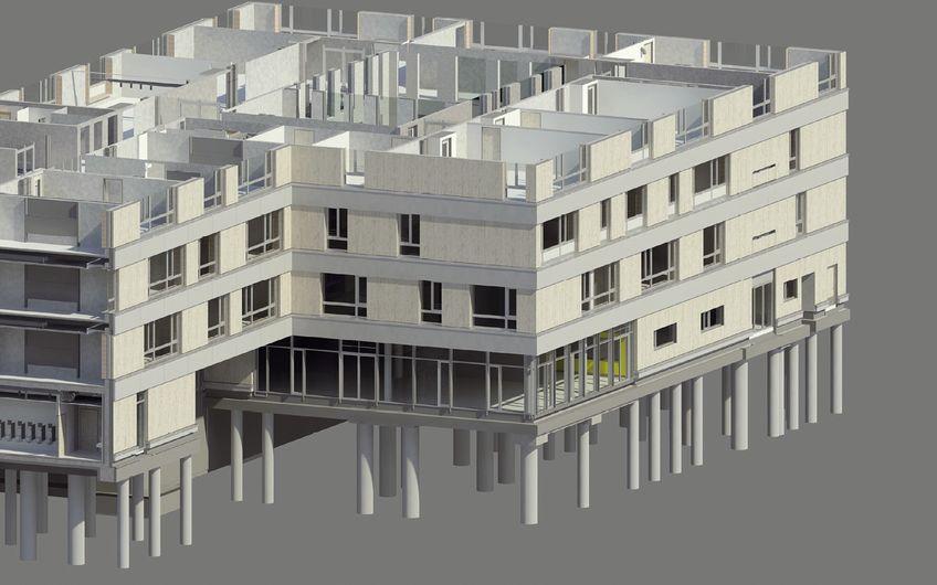 Die Gesamtschule Hürth im 3D-Modell (Entwurf: h4a Architekten, Ausführungsplanung: KZA)