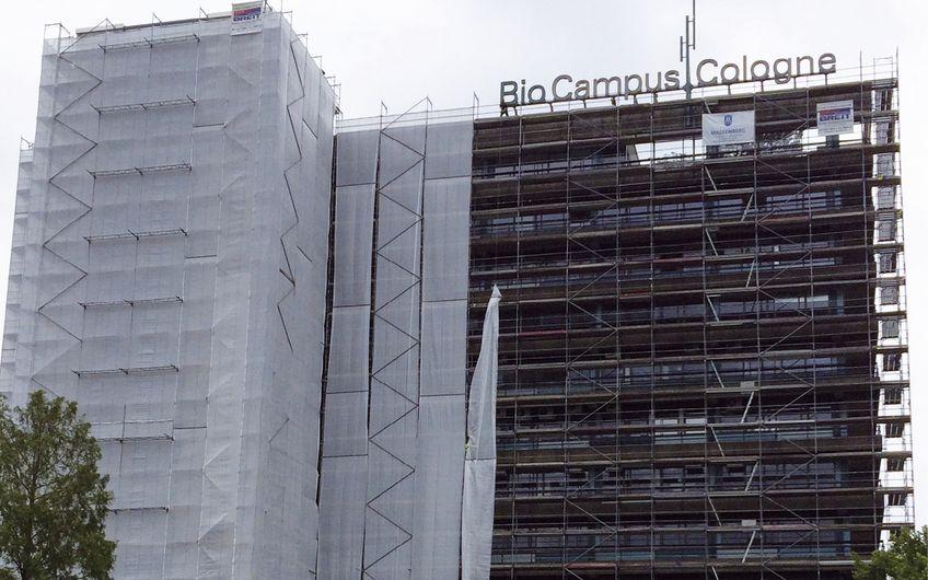 Fassade eines Gebäudes auf dem Bio Campus Cologne in Köln