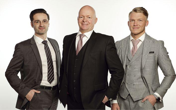 Th. Christian Jurascheck (Associate Partner), Thorsten Stark (Geschäftsführer) und Glenn Frickart (Corporate Finance) (v.l.)