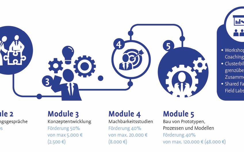 Die Förderung ist bei DigiPro in fünf Modulen gegliedert