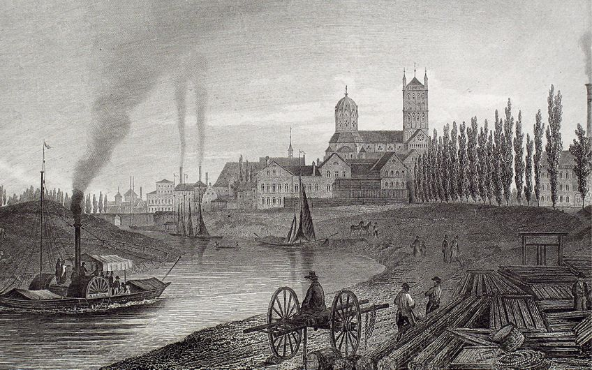 Der Neusser Erftkanal mit dem Quirinus-Münster 1850 (Foto: Neuss Düsseldorfer Häfen GmbH & Co. KG)