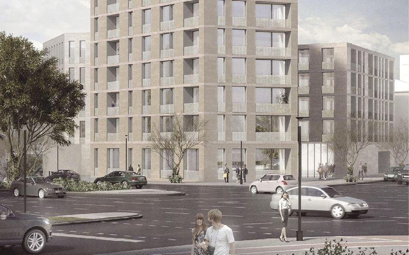 Am Dortmunder Königswall baut KZA gemeinsam mit dem Spar- und Bauverein Dortmund drei Wohngebäude (Quelle: KZA)