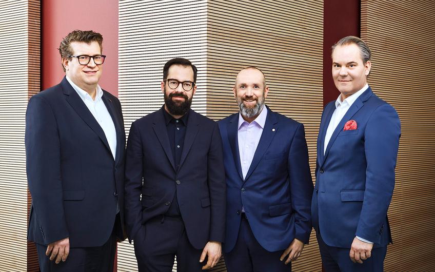 Hauptgesellschafter Christian Busch, Ralph Hürlemann (GF Einkauf), Frank Reuber (kaufmännischer GF) und Marcus Leber (GF Marketing und Vertrieb) (v.l.)
