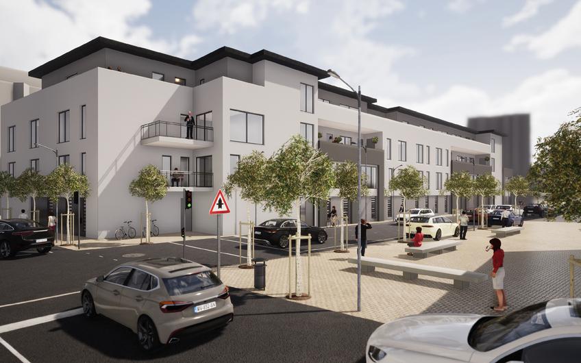 In Heinsberg wird dieses Wohn- und Geschäftshaus errichtet (© Gronau)