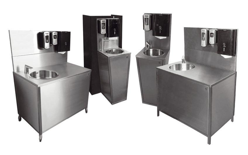Eine der stylishen mobilen Hygiene-Stationen der dänischen Tochterfirma Steel of Denmark
