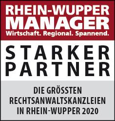 Siegel: STARKER PARTNER - Die größten nationalen Rechtsanwaltskanzleien in Rhein-Wupper