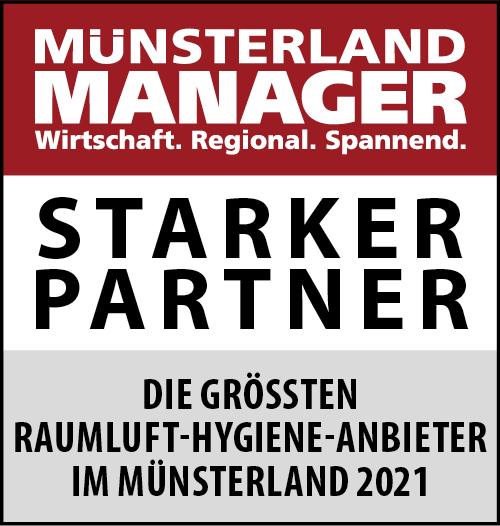 Siegel: STARKER PARTNER - Die größten Raumluft-Hygiene-Anbieter im Münsterland