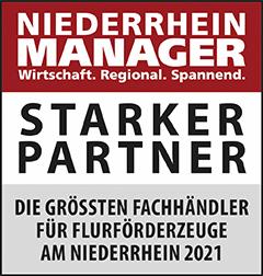 Siegel: STARKER PARTNER - Die größten Fachhändler für Flurförderzeuge am Niederrhein