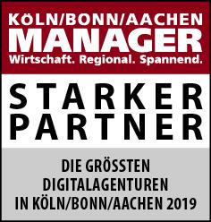 Siegel: STARKER PARTNER - Die größten Digitalagenturen in Köln/Bonn/Aachen