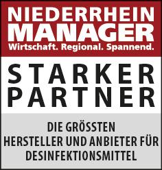 Siegel: STARKER PARTNER - Die größten Hersteller und Anbieter für Desinfektionsmittel am Niederrhein