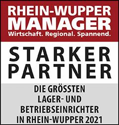 Siegel: STARKER PARTNER - Die größten Lager- und Betriebseinrichter in Rhein-Wupper