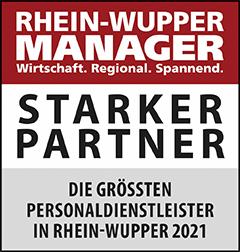 Siegel: STARKER PARTNER - Die größten Personaldienstleister in Rhein-Wupper