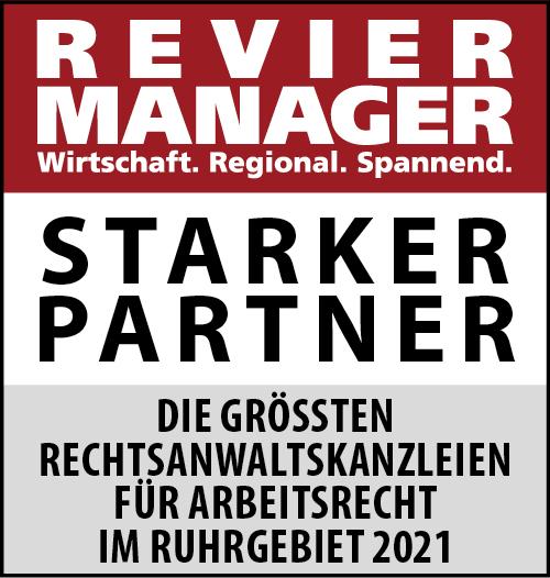 Siegel: STARKER PARTNER - Die größten Rechtsanwaltskanzleien für Arbeitsrecht im Ruhrgebiet