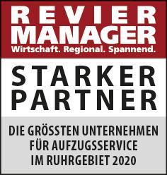 Siegel: STARKER PARTNER - Die größten Unternehmen für Aufzugsservice im Ruhrgebiet