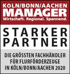 Siegel: STARKER PARTNER - Die größten Fachhändler für Flurförderzeuge in Köln/Bonn/Aachen