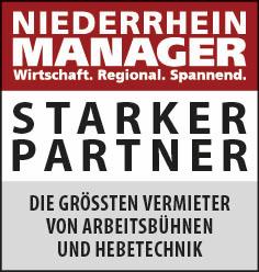 Siegel: STARKER PARTNER - Die größten Vermieter von Arbeitsbühnen und Hebetechnik am Niederrhein