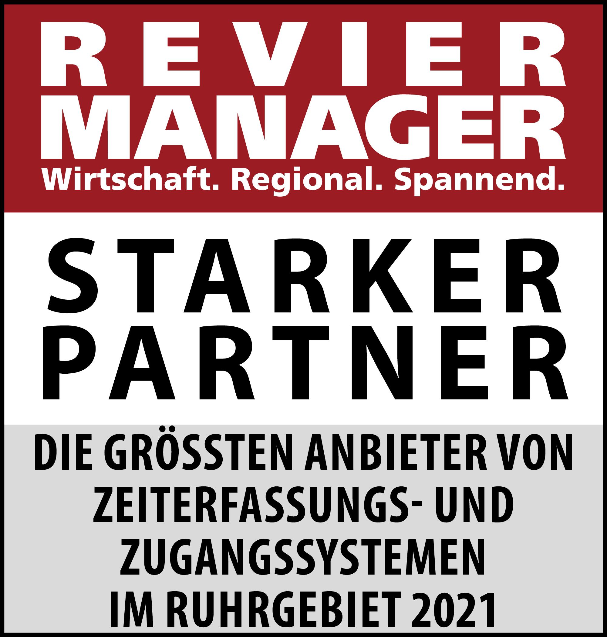 Siegel: STARKER PARTNER - Die größten Anbieter von Zeiterfassungs- und Zugangssystemen im Ruhrgebiet