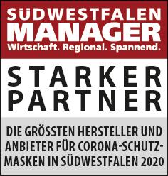 Siegel: STARKER PARTNER - Die größten Hersteller und Anbieter für Corona-Schutzmasken in Südwestfalen