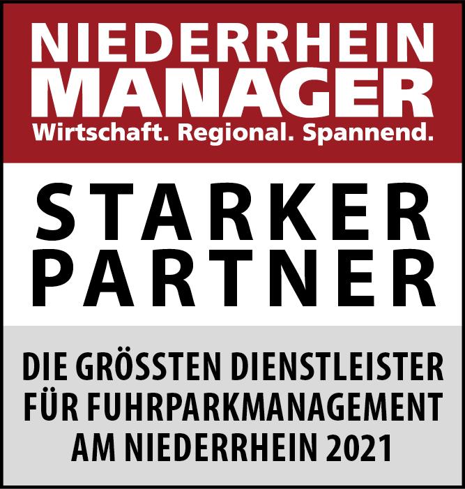 Siegel: STARKER PARTNER - Die größten Dienstleister für Fuhrparkmanagement am Niederrhein