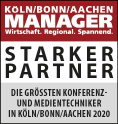 Siegel: STARKER PARTNER - Die größten Konferenz- und Medientechniker in Köln/Bonn/Aachen
