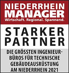 Siegel: STARKER PARTNER - Die größten Ingenieurbüros für technische Gebäudeausrüstung (TGA) am Niederrhein
